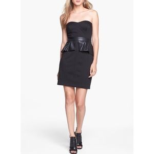 Jessica Simpson Leather Peplum Strapless Dress 2